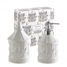 Coffret bain distributeur de savon et pot à coton Petit Carrousel